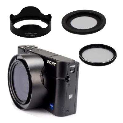 Aluminum Filter Adapter Ring For Sony RX100 M2 M3 Rx100 M7 RX100M5 RX100M6 DSC-RX100VI RX100V RX100Vii QX100 Lens Camera 46MM UV