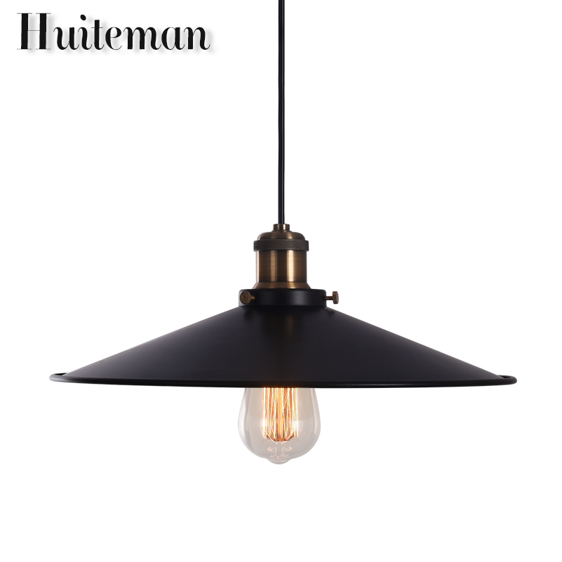 New vintage industrial Kitchen Light Hanglamp loft pendant lights led lamp Pendant Lighting Decoration black lampshade 85-260V купить