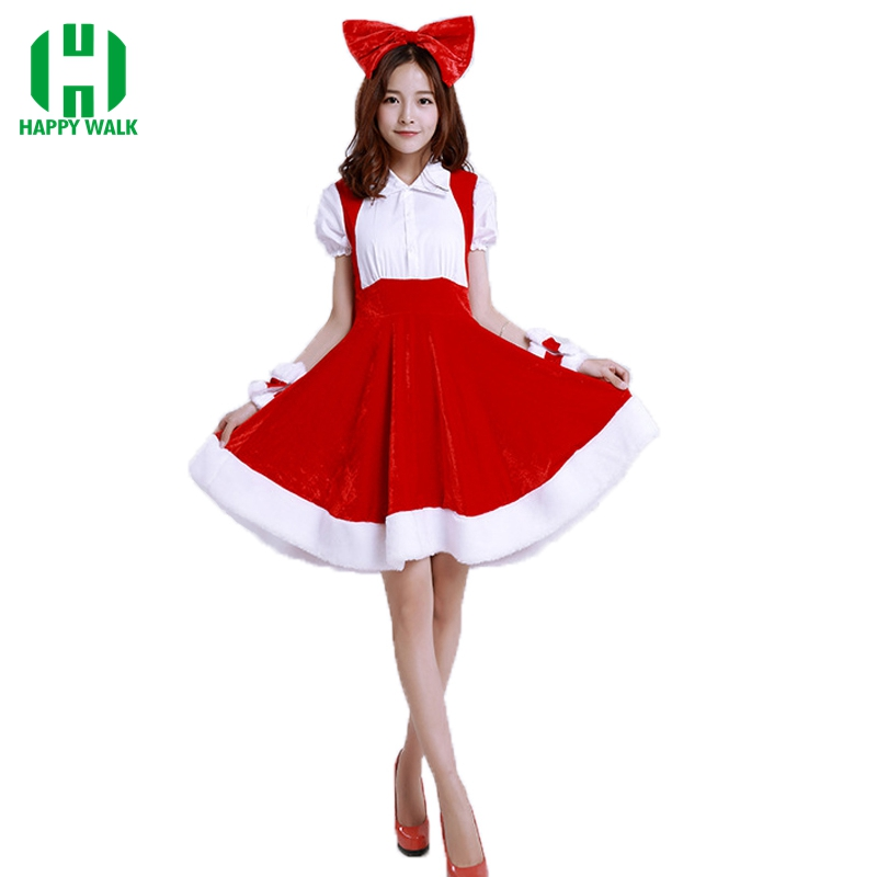 Newest Red Dress 2019 Christmas Costumes Sexy Santa Baby Crystal Velvet Holiday Dress With Headwear One Size Santa Claus Costume