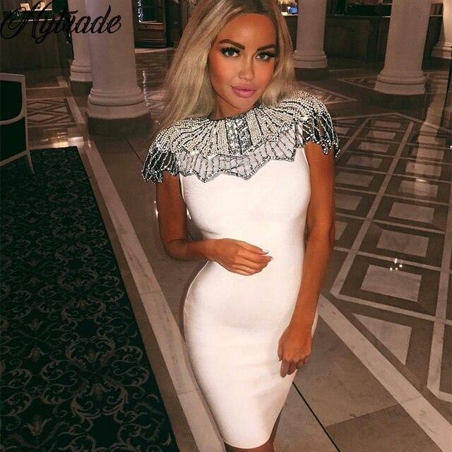 7b9f611bbb3 Hytrade 2018 Beading Shoulder White Bodycon Mini Night Out Dresses Women  Outfit Embellishment Black Party Premium