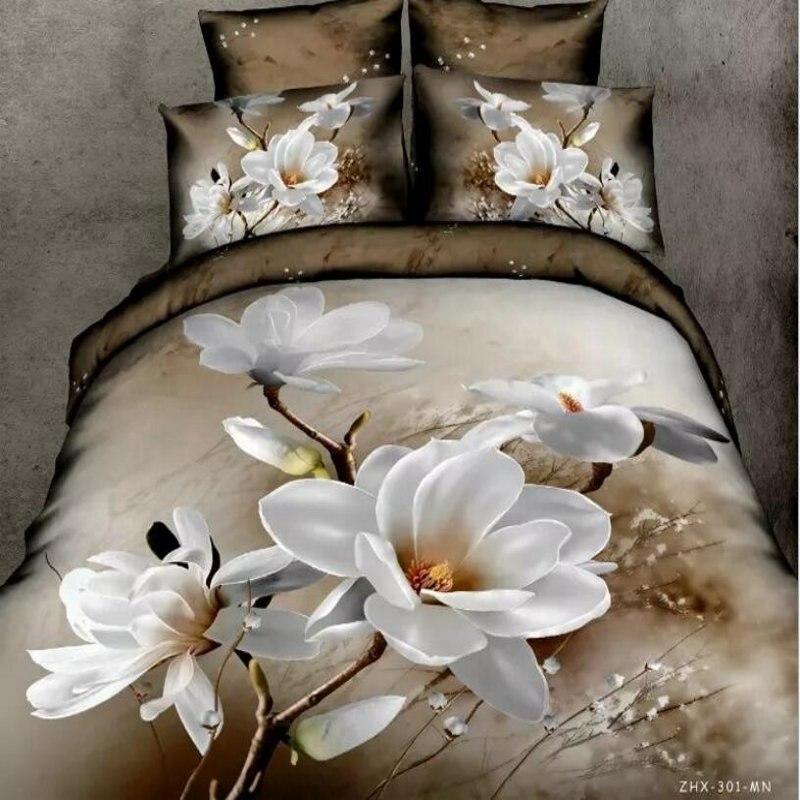 Copripiumino Orchidea.Orchidea Bianca 3d Set Di Biancheria Da Letto Queen Size 4 Pz