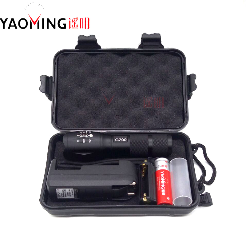 100% genuine G700 3800LM CREE XM-L T6 LED 10W Zoomable Tactical Flashlight Outdoor lighting+18650 battery+charger+gift box Torch rechargeable 2000lm tactical cree xm l t6 led flashlight 5 modes 2 18650 battery dc car charger power adapter