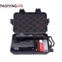 100% genuino G700 3800LM DEL CREE XM-L T6 LED 10 W Zoomable Linterna Táctica Al Aire Libre de iluminación + 18650 batería + cargador + caja de regalo de La Antorcha
