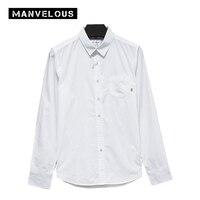 Manvelous 100 Cotton Smart Casual Shirt Mens 2017 Summer Fall Long Sleeve Lapel Single Breasted Slim