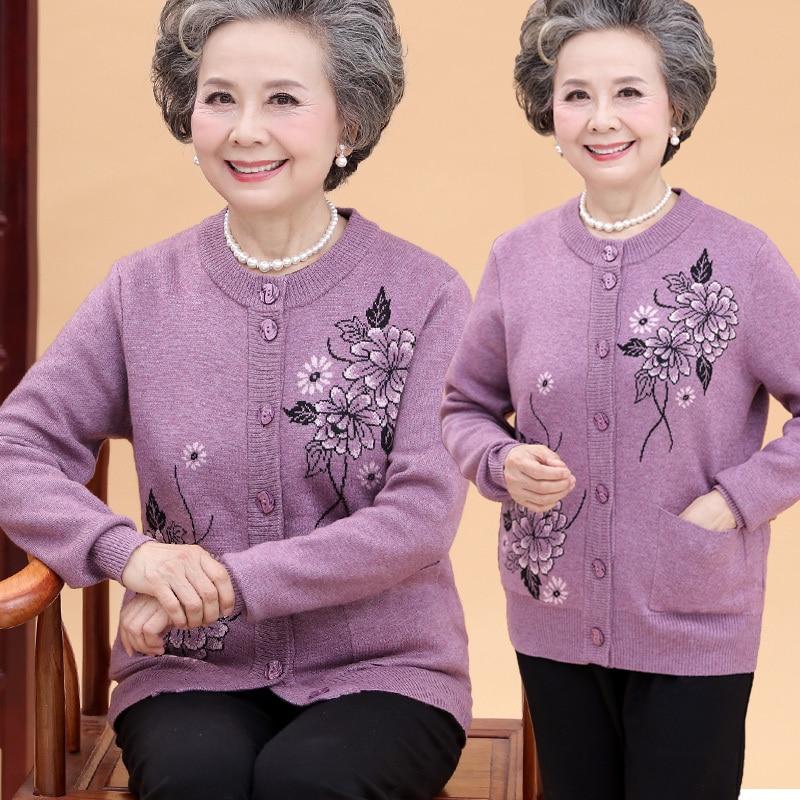 viola colore Inverno Cardigan Autunno Spessa Dell esercito rosso lavanda  verde blu Navy cachi 70 Anziani Donna ... 09fd3612964