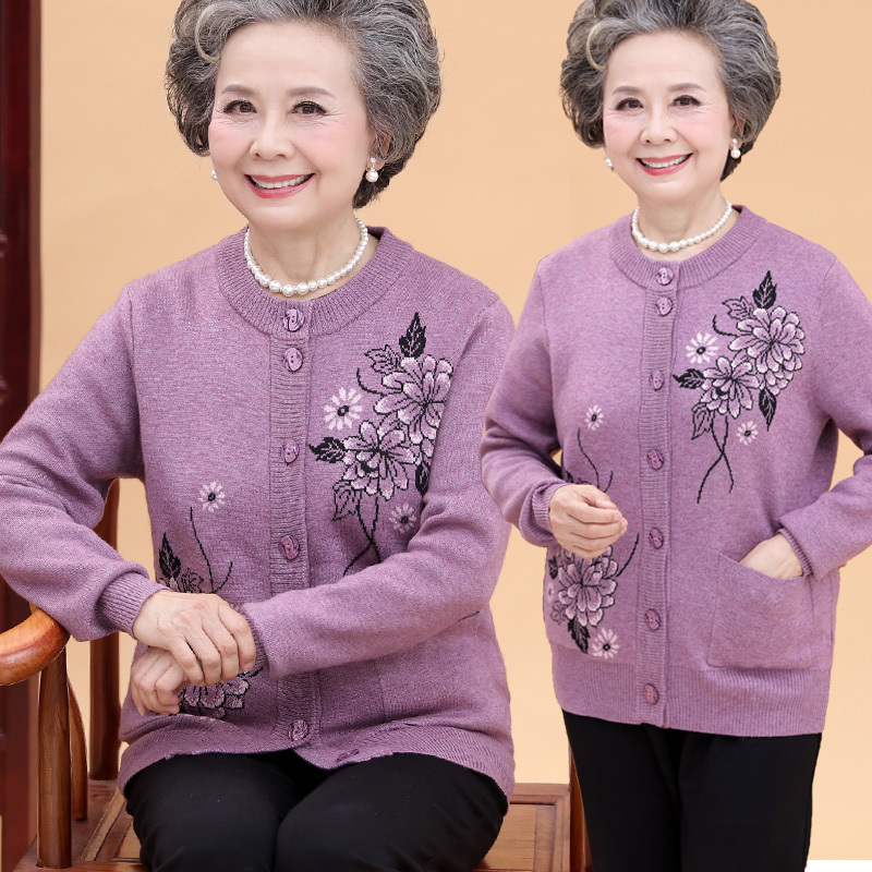 2018 Elderly winter women thick sweater cardigan 60-70 years old sweater Grandma autumn and winter coat ...