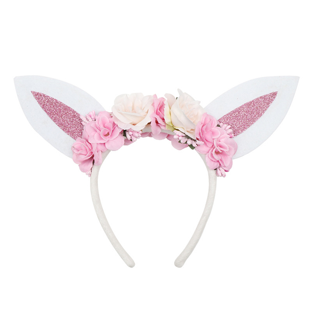 Baby Girl Headband Floral Rabbit Ear Hair Clip Head Band Accessories Elastic Bow Flower Decor Princess Headwear Good Companions For Children As Well As Adults