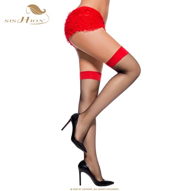 e047b8b702bf9 SISHION Simple Black Women's Nylon Sexy Thigh High Over The Knee Christmas  Long Stockings For Girls Ladies Red Top VS0012
