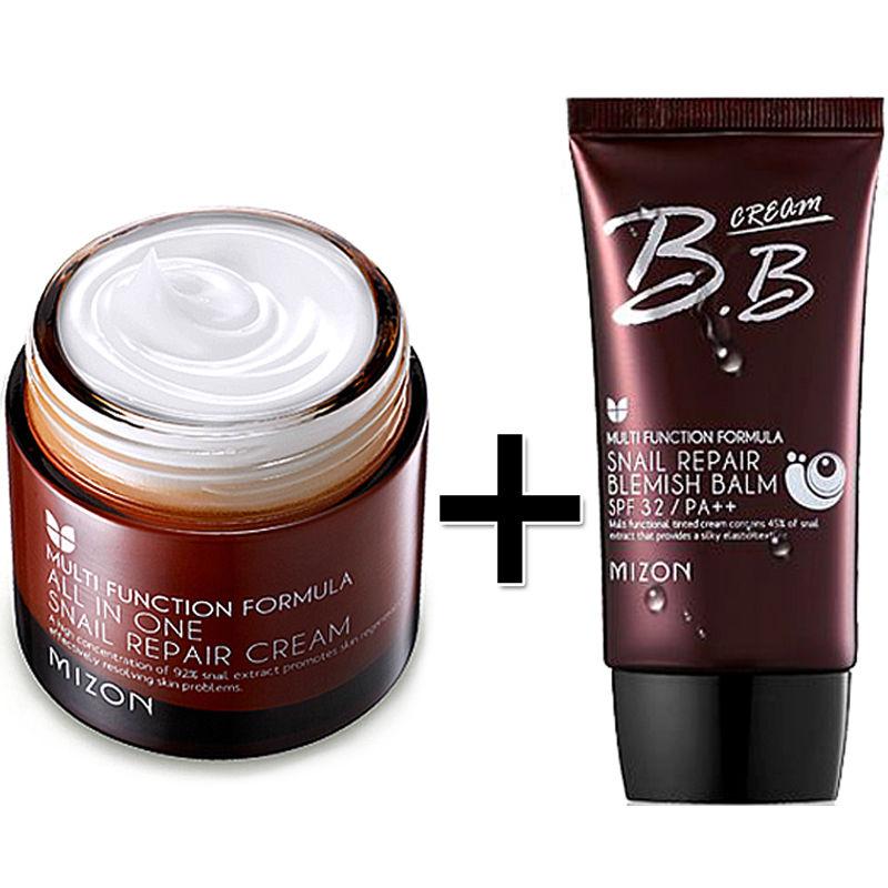 MIZON All In One Snail Repair Cream 75g + Snail Repair Blemish Balm SPF32 PA++ Face Skin Care Facial  BB Cream Korean Cosmetics недорого