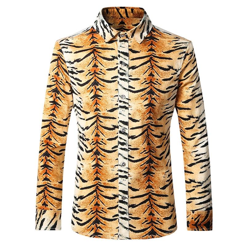 0ce0d5b5bd0 Tiger shirt men autumn a male long-sleeve shirt 100% paragraph cotton print  shirt plus size 5xl