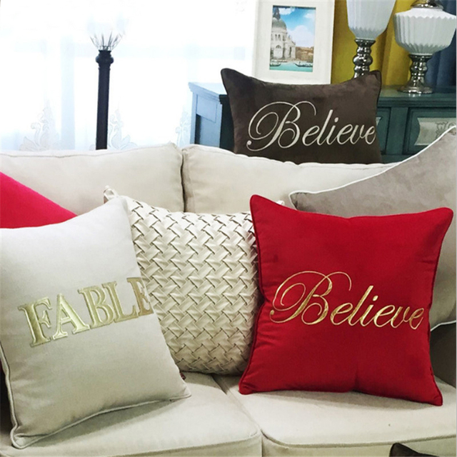 Europe New Luxury Elegant Home Solid Embroidery Cushion Cover Le Coussin Pillowcase Decorative Pillows Almofada Cojines