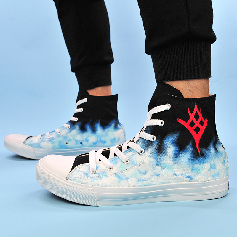 Wen Design Custom Hand Painted Shoes Destiny The Taken King High Top Woman Man's Canvas Sneakers Boy Girl's Skateboard Shoes