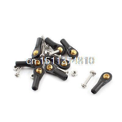 8Pcs RC Car 2X18X2mm Plastic Tie Rod End Ball Joint Buckle Black w Screws