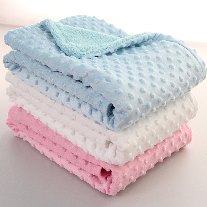 Warm Baby Blanket & Swaddling Newborn Thermal Soft Fleece Solid Bedding Set Double Layer Cotton Quilt Baby Carriage Blanket