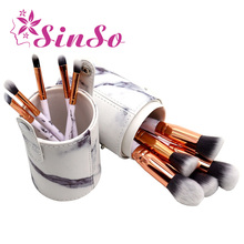 SinSo 10pcs Marble Makup Brushes Set Foundation Powder Eyeshadow Blush Brush Kit Cosmetics Make up Brushes Tool with Holder