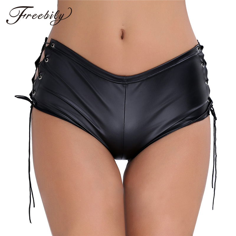 Women Black Patent Leather Lace Up Hot Mini Shorts Female Nightclub Rave Party Pole Dance Performance Sexy Shorts Outfit