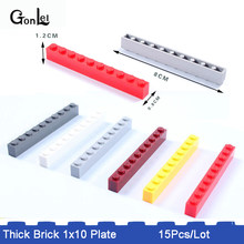 15Pcs/Lot Thick Brick 1 x 10 Small Particles Classic Building Blocks Parts Accessories DIY Toys Compatible with 6111 Toys(China)