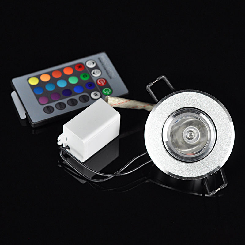 Image 2 - 10pcs/lot Dimmable AC85 265V 3W led ceiling LED downlight RGB led lamp ceiling downlight +24 Keys Remote control free shipping-in LED Spotlights from Lights & Lighting