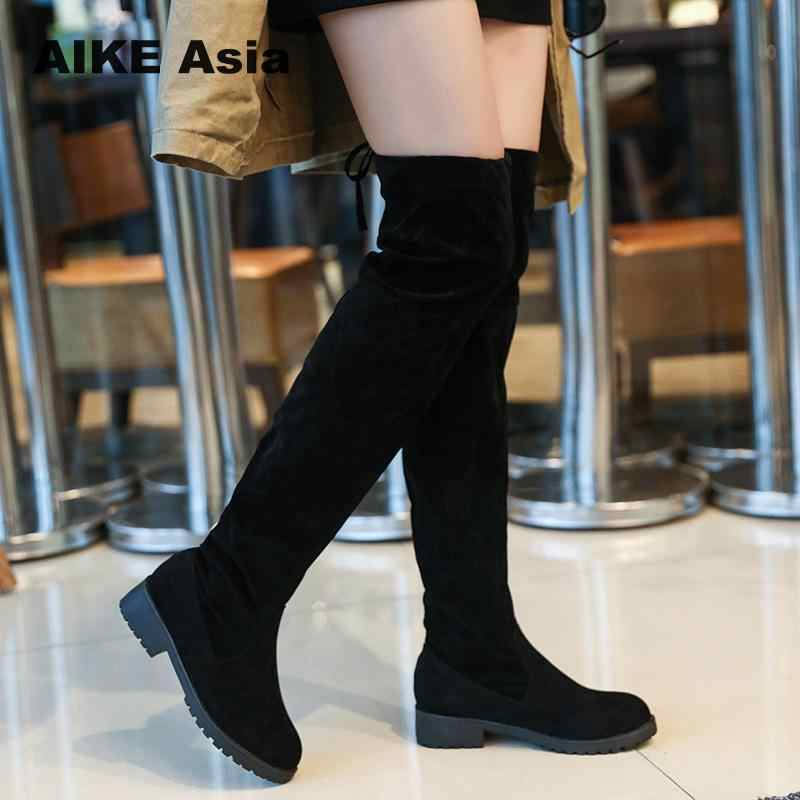 Boyutu 34-41 kış diz çizmeler üzerinde kadın streç kumaş kadın uyluk yüksek seksi dantel kadın düz ayakkabı uzun Bota Feminina