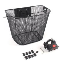 Bicycle Metal Mesh Basket MTB Mountain Bike Quick Release Handle Cycling Front Foldable
