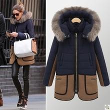Зимняя женская куртка, новинка зимы, женский длинный пуховик с меховым воротником и карманами, цветное пальто в стиле пэчворк