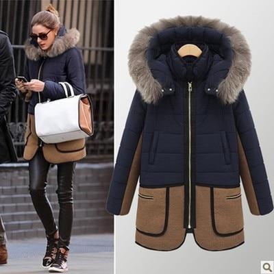 Winter Jacket Women The New Winter  Women 'S Fur Collar Pocket Long Section Down Jacket Coat Patchwork Color Coat