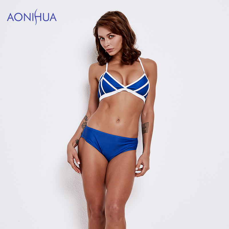 AONIHUA Stitching Color Swimwear Bandage Bikini Set Triangle Body Suits Padded Bra Beach Bathing Suit Swim Wear