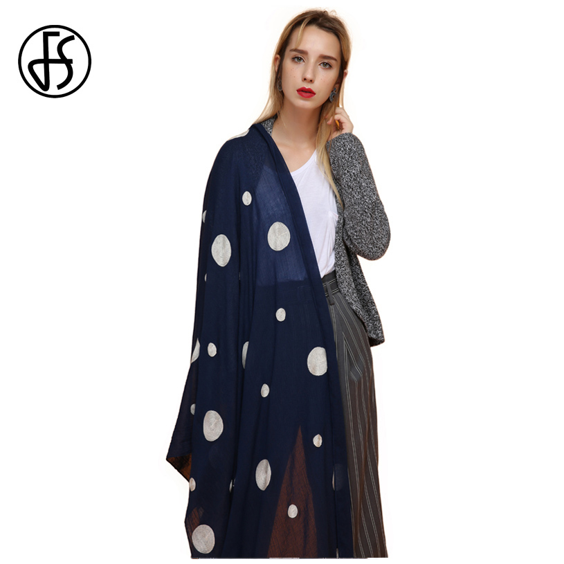 FS Ladies Embroidere Cotton Long Scarf Polka Dot Shawl Women's Scarf