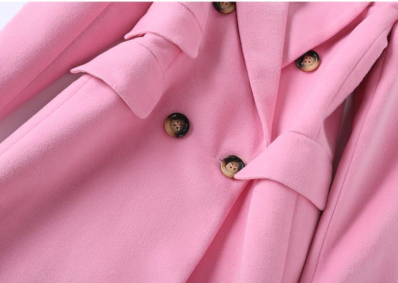 Wool Coat 2019 Winter New Pink Long Coat Women Turn down Collar Double Breasted High Quality Cashmere Coat - 5