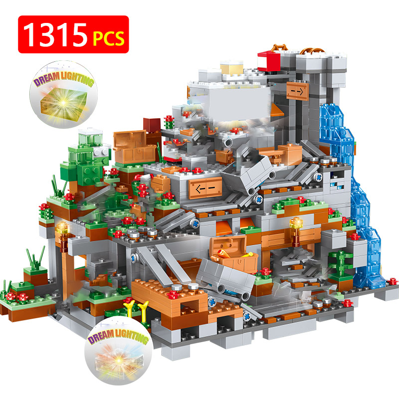1351pcs Building Blocks My World legoingly Minecrafted 3D Light Organs Of The Cave Castle Village Series Toys For Boys Kids-in Blocks from Toys & Hobbies    1