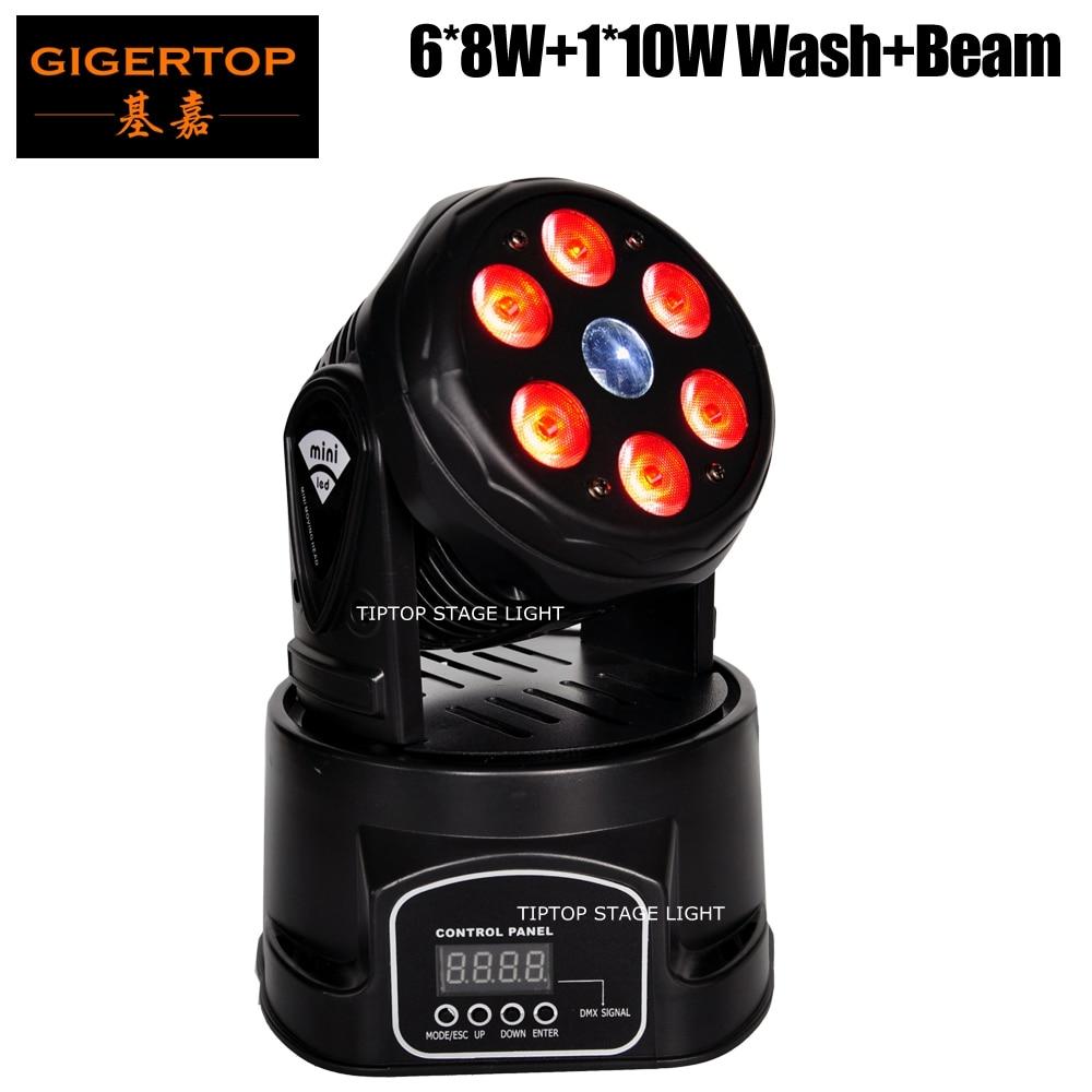 Gigertop TP-L70C 6x8 W RGBW 4IN1 Tyshine Wash + 1x10 W CREE RGBW 4IN1 faisceau double effet Mini Led lumière principale mobile blanc/noir