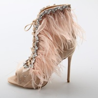 Fashionable Bling Rhinestone Feather Sandals Woman High Heel Pointed Open Toe Zip Shoes Summer Lace Up Dress Party Ladies Shoes