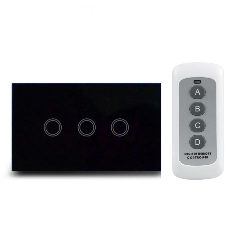 120 US Plug 433MHz RF Light Switch 3 Gang Waterproof Glass Panel Touch Screen Wall Switch With Remote Control Sets 110~240V AC 2017 smart home crystal glass panel wall switch wireless remote light switch us 1 gang wall light touch switch with controller