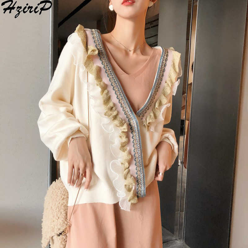 HziriP New Knitted Sweater Women 2019 New Spring Winter Fashion Long Sleeve Loose Cardigans Female Soft Warm Casual Outerwear