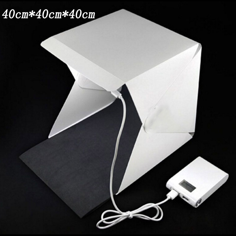 ФОТО 40cm Portable Mini LED Photo Studio Box Photography Backdrop built-in high Light Photo Box foldable softbox with backgound new