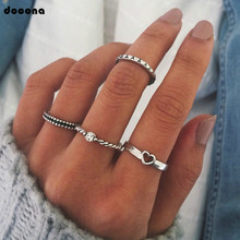Docona Retro 4 pcs/sets Charm New Arrival Silver Color Heart Wedding Rings for Women Ladies Jewelry Gift Drop Shipping 4302