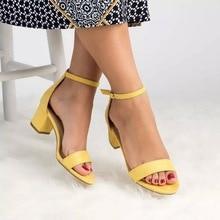 VERTVIE 2018 Women Sandals Summer Fashion Ankle Strap Heels Shoes