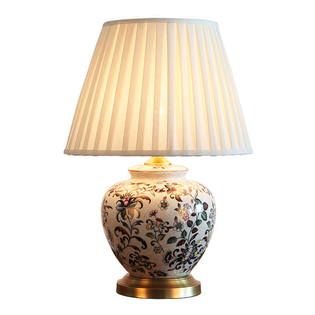 Classical hand painted flowers chinese ceramic fabric e27 dimmer classical hand painted flowers chinese ceramic fabric e27 dimmer table lamp for living room bedroom study aloadofball Image collections