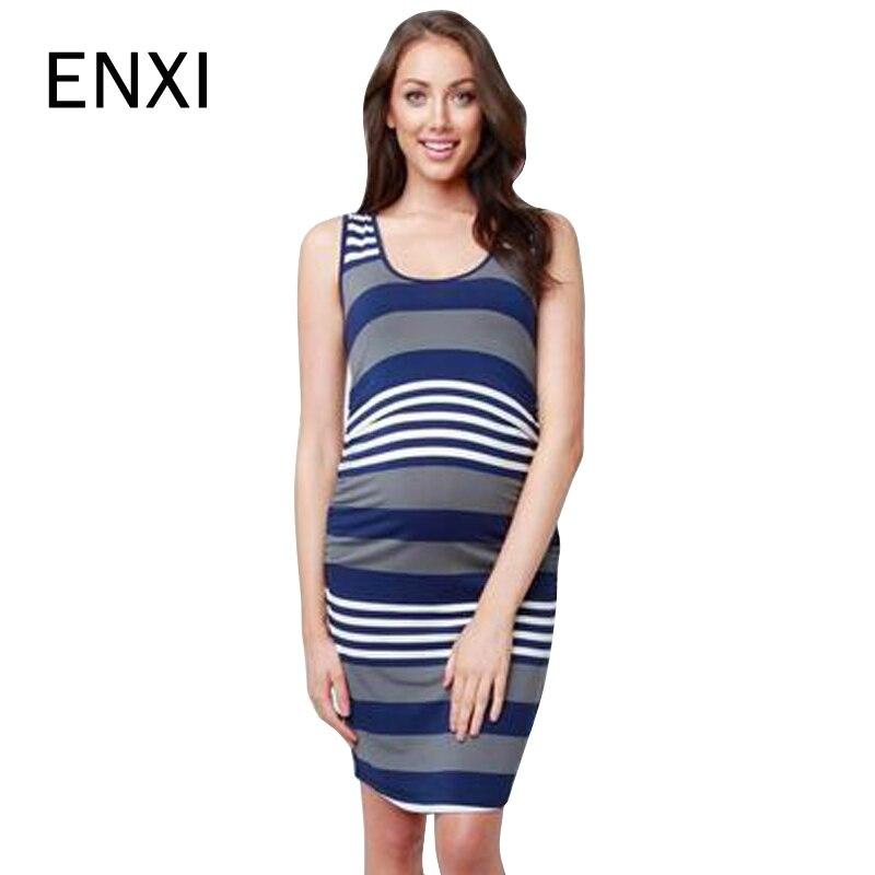 4c8a676a69 ENXI Stiped Gestreiften Mutterschaft Pflege Kleid Sommer Mode Stillen  Kleidung Für Schwangere Frauen Schwangerschaft Kleidung S-XXL