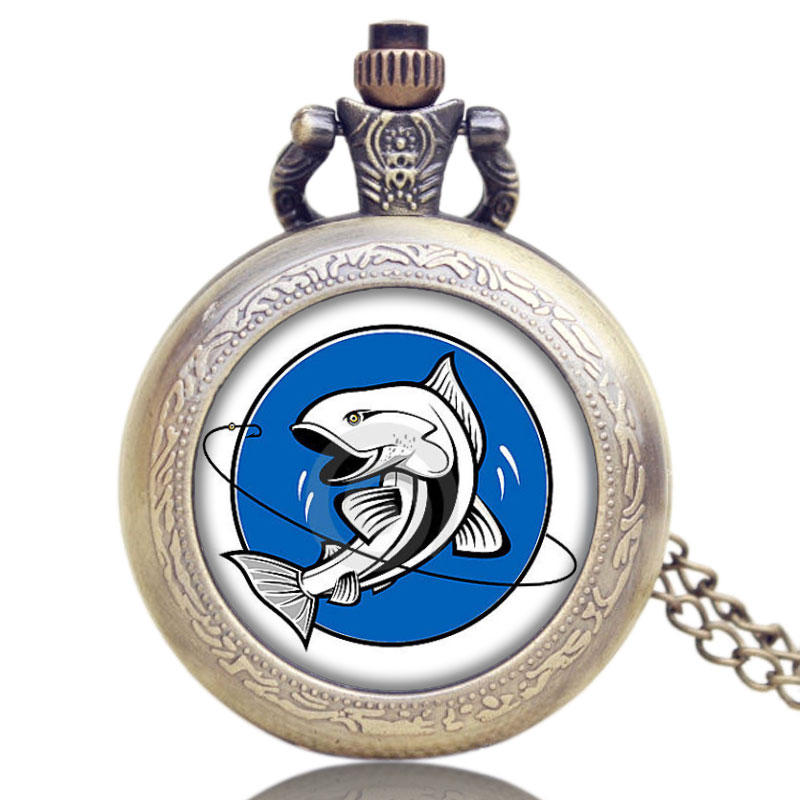 Hot Fashion Fishing Design Pocket Watch Pendant Necklace Quartz Watch for Fisherman Best Gift P1175