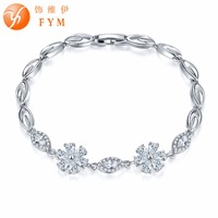 FYM 8 Colors Silver Color Flower Bracelet For Women AAA Cubic Zirconia Link Chain Bracelet Jewelry