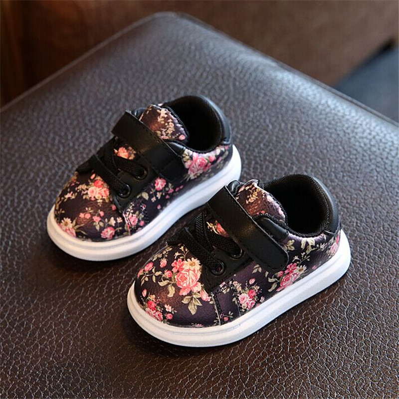 Cute Floral Pattern Design Baby Girls Shoes Comfortable Leather Kids Sneakers 1