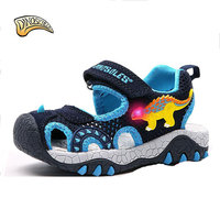 Dinoskulls 2019 Summer Sandals for Boys Children Sandal Kids Slides Shoes Dinosaur Light Up Led Summer Shoes Kids Beach Sandals