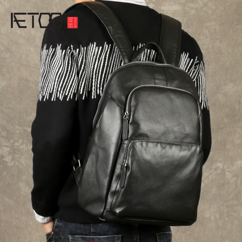 AETOO The first layer of leather shoulder bag male leather backpack tide new Japan and South Korea leisure business travel compu in europe and the big tide of ms han edition fashion leisure joker soft pu leather backpack backpack personality simple bag