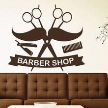 Man Razor Shavers Barber Shop Sticker Chop Bread Decal Haircut Posters Vinyl Wall Art Decals Decor Windows Decoration Mural