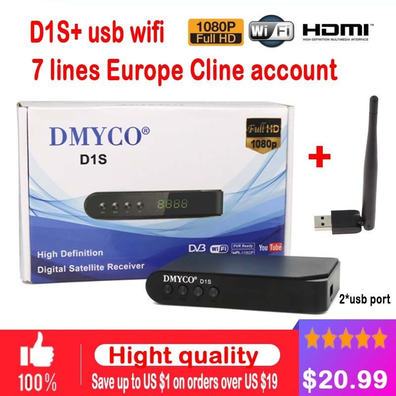 Ricevitore TV satellitare decoder D1S HD DVB-S2 + USB Wfi Recettore con 7 linee Europa Cline supporto powervu PK v7 V8 SUPER