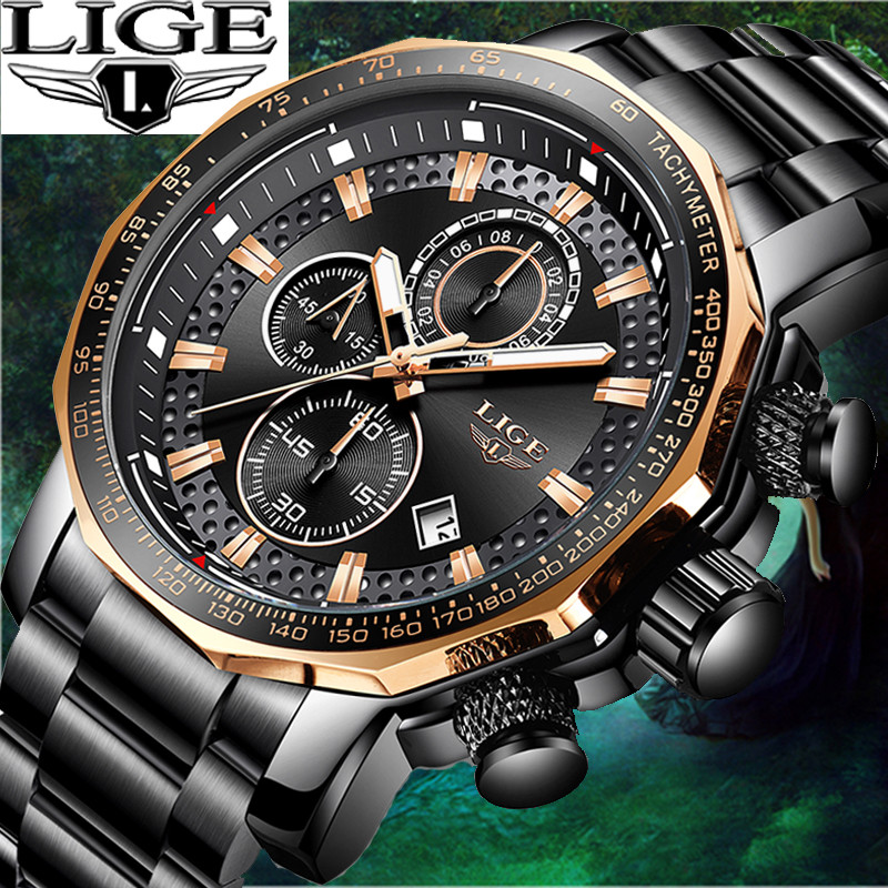 LIGE Quartz Waterproof Luxury Sport Style Mens Watches Top Brand Stainless Steel Strap Chronograph Full calendar reloj hombre