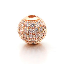 8mm Best Quality Brass Cubic Zirconia Round Spacer Beads for DIY Jewelry Accessories Making, Hole: 2mm, Model: VZ5(China)