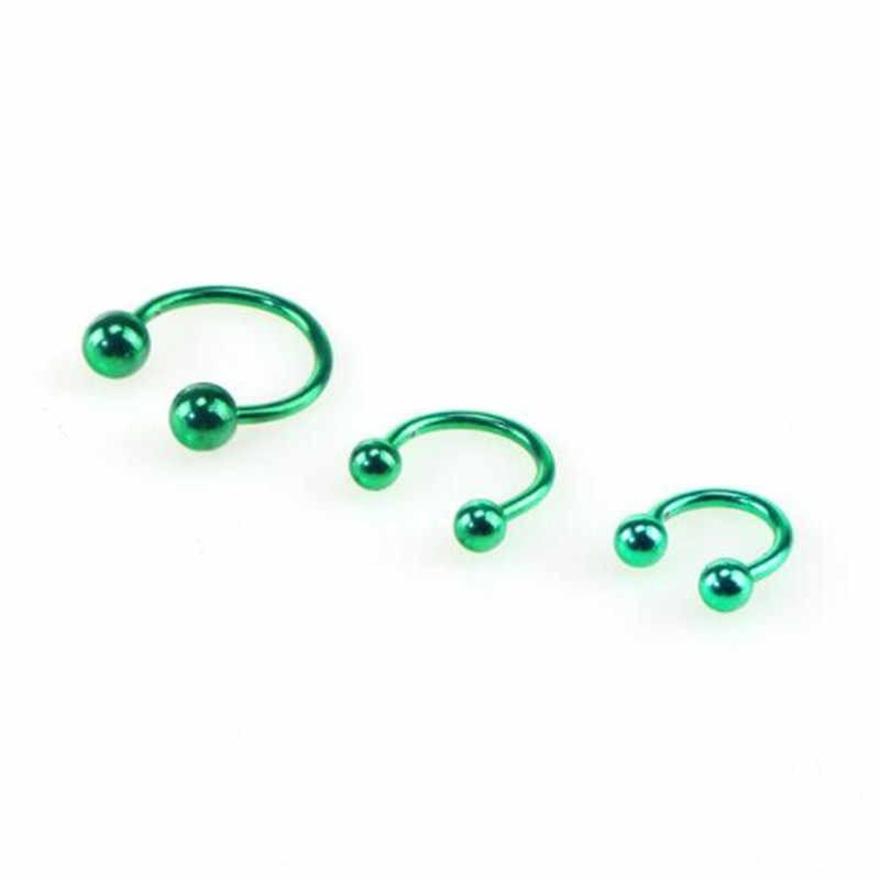 Ahmed 2 sztuk moda okrągły pierścień podkowy nos Hoops pierścień Ear Stud przekłucie Tragus biżuteria do ciała kobiety mężczyźni prezenty hurtownie