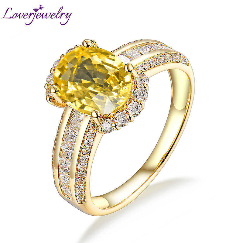 luxury design solid 18kt gold genuine yellow sapphire gemstone wedding ring jewelry princess cut